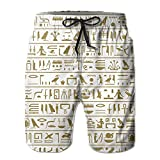 best& Seamless Level of The Ancient Egyptian Hieroglyphs Men's/Boys Casual Shorts Swim Trunks Swimwear Elastic Waist Beach Pants with Pockets