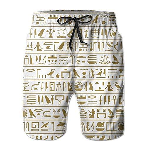 Funny&shirt Seamless Level of The Ancient Egyptian Hieroglyphs Men's/Boys Casual Shorts Swim Trunks Swimwear Elastic Waist Beach Pants with Pockets Medium