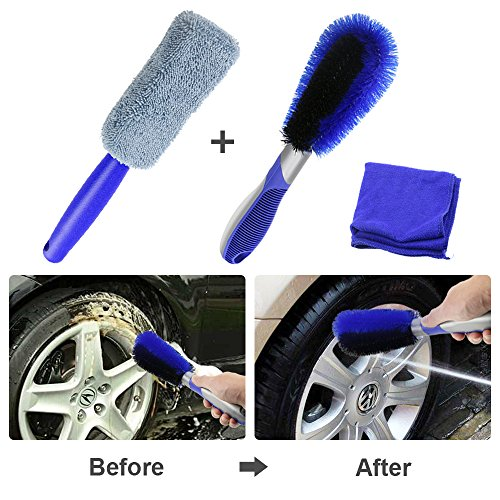 Fixget kit di strumenti di lavaggio, auto kit pulizia panno in microfibra, spazzola del lavaggio per ruote, automobile camion moto gomma della rotella pennello di lavaggio a secco