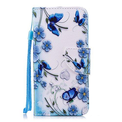 Hopmore cover huawei p9 lite mini/huawei y6 pro 2017 silicone morbido con pelle pu con disegni antiurto custodia modello portafoglio [supporto stand] custodia case protettiva - farfalla blu