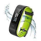 Vigorun Fitness Armband, Farbdisplay Fitness Tracker,Aktivitätstracker mit Pulsmesser,IP68 Wasserdichtes Schrittzähler mit Alarm/Kalorien/Schlafüberwachung, für Android und iOS (Schwarz + Grün)