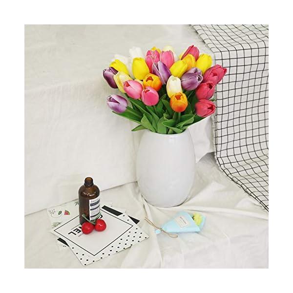 Ramo de flores artificiales de 20 cabezas de tulipanes de poliuretano de tacto real para el hogar, la oficina, verde…