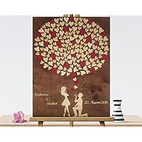 80x60 cm 3D Holz Echtholz Hochzeitsgästebuch mit Holzherzen Hochzeitsbaum Wooden Wedding Tree Gästealbum Hochzeitsalbum Gästebuch aus Holz
