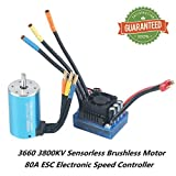 Crazepony-UK 3660 3800KV Sensorless Brushless Combo Motor Set and 80A ESC Electronic Speed Control 5mm Shaft Splashproof for 1/10 1:10 RC Racing Car Off-Road Truck Vehicle
