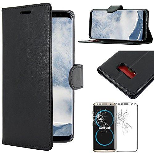 ebestStar [Compatible avec Coque Samsung Galaxy S8 [148.9 x 68.1 x 8mm, 5.8''] Etui PU Cuir Housse Portefeuille Porte-Cartes Support Stand, Noir + Film Protection écran Verre Trempé
