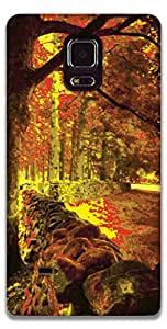 The Racoon Lean printed designer hard back mobile phone case cover for Samsung Galaxy Note 4. (Forest)