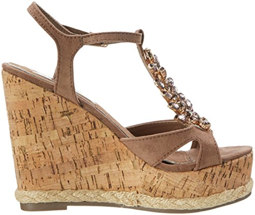 XTI Damen Taupe Microfiber Ladies Sandals Plateausandalen Braun (Taupe)