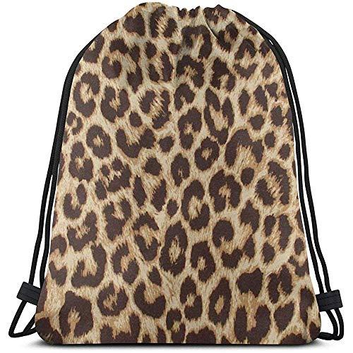 MOTALIN Backpack,Drawstring Bolso,Bolsas De Cuerdas Gimnasio,Mochila con Cordón,Leopardo 2 Mujeres/Hombres Cinch Pack,Bolsa Ligera,Mochila De Viaje Deportivo