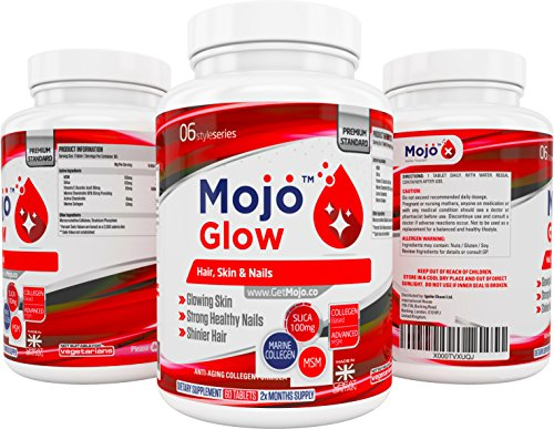 MOJO™ GLOW – Hair Skin & Nails Supplement | Anti Ageing Formula With MSM, Vitamin C, Collagen, Silica | Anti Wrinkle & Hair Growth Vitamin For Men & Women + Money Back Guarantee