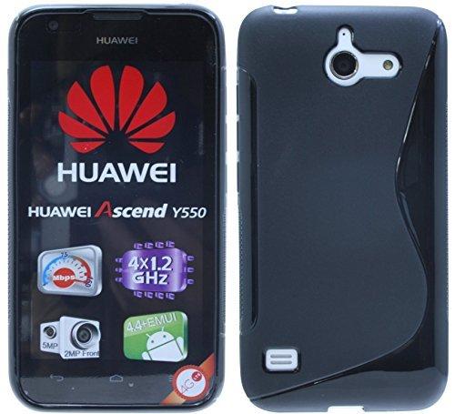 Huawei Ascend Y550 // Silikon Hülle S-Line Tasche Case Zubehör Schale in Schwarz @ Energmix