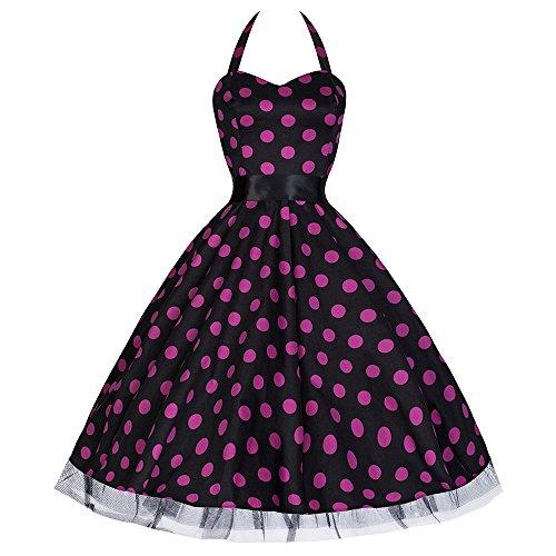 Pretty Kitty Fashion 50s Groß Lila Polka Dot Schwarz Weiß Neckholder Cocktail Kleid XS