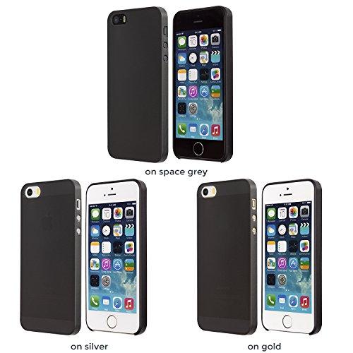 iPhone SE Hülle, Dünnste Hülle Premium Ultradünn Leicht Schmal Minimal Anti-Kratz Schutz Case - Für Apple iPhone 5 / iPhone 5s   totallee The Scarf (Schwarz) Schwarz