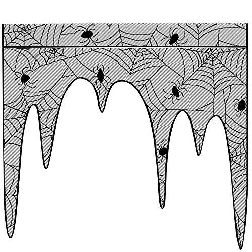 (Big-Mountain Fenster Vorhang, Spider Halloween Spitze Web Schwarz Lace, Fledermäuse Spooky Tür Vorhang Panel, Table Tuch Spukhaus Gothic Halloween Dekor (Schwarz))