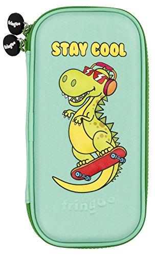 Fringoo® Kids Federmäppchen Hardtop Embossed mit Doppel-Reißverschluss, Bleistift- und Schreibwaren Organizer Lustig Neuheit mit Unicorn Design-Coole Dino) -