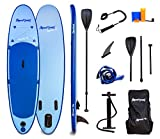 Aquaplanet 10ft Allround Stand Up Paddleboard - Complete Beginner's Kit. Includes Hand Air Pump With Pressure Gauge, Adjustable Aluminium Floating Paddle, Repair Kit, Heavy Duty Carry Rucksack & Premium SUP Coiled Leg Leash & 4 Seat Ring Fittings.