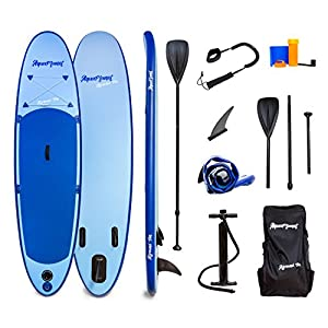 51BNQGplGzL. SS300  - AQUAPLANET ALLROUND TEN SUP Inflatable Stand Up Paddle Board Kit | 3M | 10' Long | Adjustable Paddle | Carry Backpack | Dual-Action Pump | Ankle Safety Leash | Repair Kit | Waterproof Dry Bag