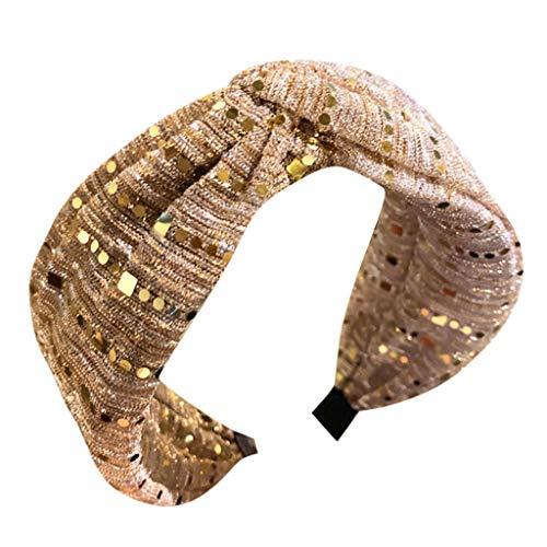 SuperSU Stirnband Damen►▷Frauen Yoga Stirnbänder Breit Haarbänder Turban Verknotet Lässige Pailletten Tuch Haarschmuck Kopf Wickeln Niedlich Haarschmuck Stirnband für kleid