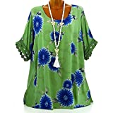 Subfamily® Frauen Plus Größe Halbarm Blütenspitze Print O-Ausschnitt Bluse Pullover Tops Shirt Beiläufig Hemd Sommer und Herbst Bluse