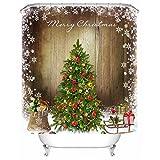 Weihnachtsbaum 3D Digitaldruck wasserdicht Mehltau Duschvorhang, Schattierung Tuch, Trennvorhänge, dekorative Vorhänge, geeignet für Hotels, Wohnheim Zimmer, Familie und andere Orte , a , 180*200cm