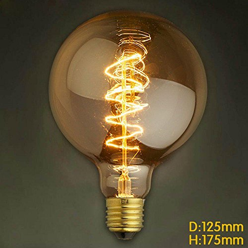 RSEN Vintage Edison Glühbirne Glühlampe Dimmbar E27 2300 Kelvin G125 Globe Lampe Retro Leuchtmittel Für Industrie-Stil, 60w (60-watt-industrie-lampe)
