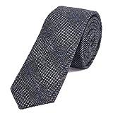 DonDon Herren Krawatte 6 cm Baumwolle blau-schwarz-grau kariert