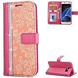 FNBK Handyhülle Kompatibel mit Samsung Galaxy S7 Edge Schutzhülle Glitzer Leder Lederhülle Flip Wallet Tasche Handytasche Stand Magnetverschluss Silikon Hüllen für Samsung Galaxy S7 Edge,Rose Rot