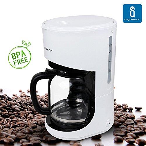 Aigostar Basic White 30HMB - Caffettiera Color Bianco. Capacità: 1.5 litri. Potenza: 900 watts. Qualità Aigostar. BPA Assente.