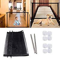 Hcpet Pet Stair Gate for Dogs Magic Gate Portable Folding Enclosure Pet Isolation Net Child Safety Gates Guard Install Anywhere (black)