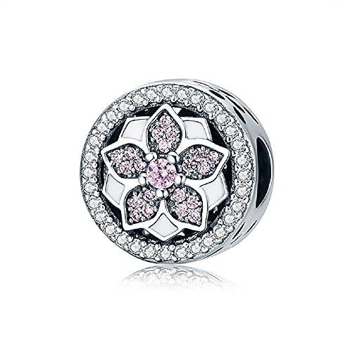 Fleur avec Oxyde de Zirconium Rose Argent sterling 925Charms pour octobre Pierre de naissance pour bracelet européenne