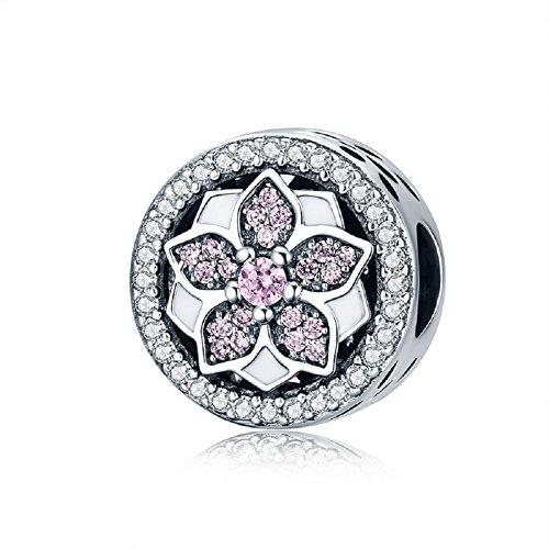 Christmas gifts fiore rosa in argento sterling 925con zirconi ciondoli bracciali europeo gioielli