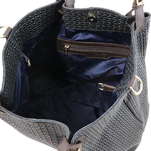 Tuscany Leather TL KeyLuck - Sac shopping TL SMART en cuir imprimé tressé - Grand modèle Taupe clair Sacs à bandoulière en cuir Noir