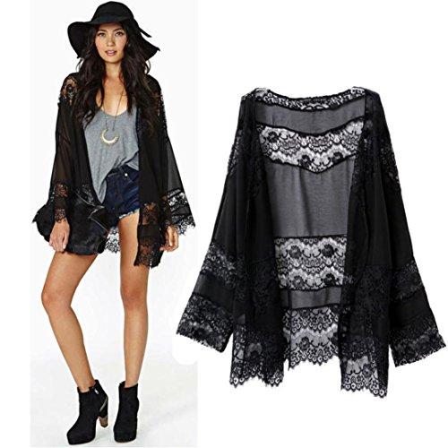 Preisvergleich Produktbild WINWINTOM Frauen-Spitze-Splicing Hohle Chiffon Kimono Cardigan Bluse Mantel Tops (S)