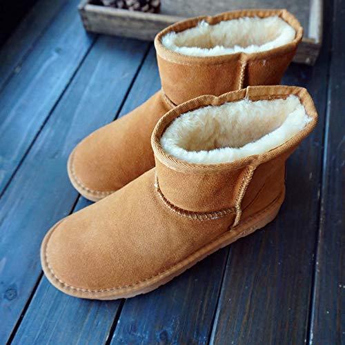Winter Schneeschuhe Scrub Low Heel Comfort Stiefel Winter Warm Dicker Baumwolle Stiefel Frauen, 44, Maroon ()