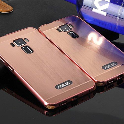 """Asus Zenfone 3 ZE552KL 5.5\"""" SpieHülle,BtDuck Silikon Metal Mirror Schutzhülle Handyhülle Mirror Protective Case Cover Glitzer Tasche Etui Bumper für Asus Zenfone 3 ZE552KL - Rose Gold"""