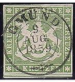 Goldhahn Württemberg Nr. 8 a gestempelt geprüft Briefmarken für Sammler