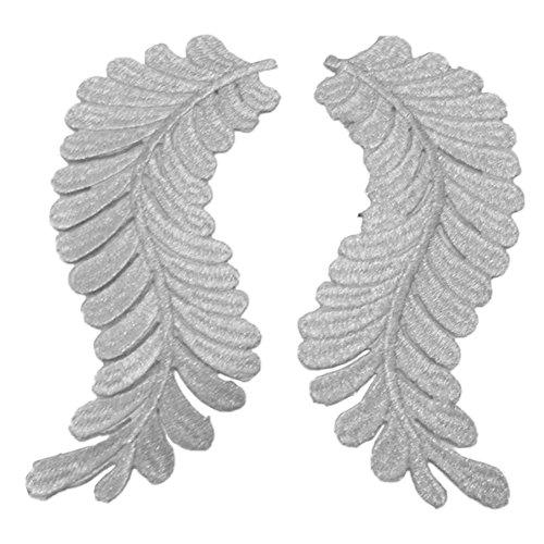 fundiy 1Paar DIY Ethnic Blätter-Applikation bestickt Kleidung Kostüm nähen trim Craft decaration Patch Gold, Silber, silber, 23*9 (Kostüme Paar Diy)