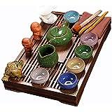 Chinois Kung Fu Service À Thé avec Bois Plateau À Thé, Vintage Coloré Céramique Service À Thé pour Les Amoureux de Thé,Ménage,Bureau