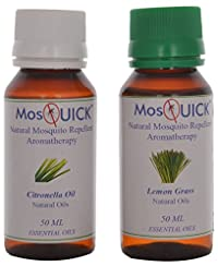 MosQuick Natural Mosquito Repellent Oil, Citronella (50ml) & Lemon Grass (50ml) - 100ml Total