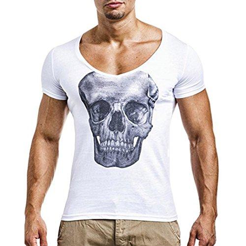Herren T-Shirt Sannysis Männer T-Shirts Pocket Kurzarm Mode Muscle Hoodies Tops Bluse Shirts (Weiß, 3XL)