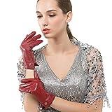 Nappaglo Damen Italienisches Lammfell Leder Handschuhe Touchscreen Winter Warm Langes Fleecefutter Handschuhe (M (Umfang der Handfläche:17.8-19.0cm), Winerot(Non-Touchscreen))