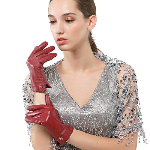 Nappaglo Damen Italienisches Lammfell Leder Handschuhe Touchscreen Winter Warm Langes Fleecefutter Handschuhe (XL (Umfang der Handfläche:20.3-21.6cm), Winerot(Non-Touchscreen)) Xl Lange Handschuhe