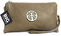 Big Handbag Shop Womens Faux Leather Mini Pouch Purse (Taupe)