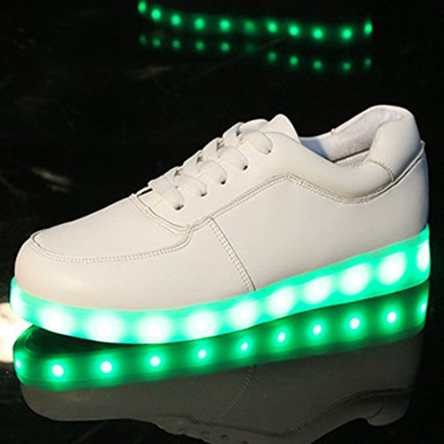 Oasap Men's Deluxe Rechargeable LED Light-Up Flat Sneakers white