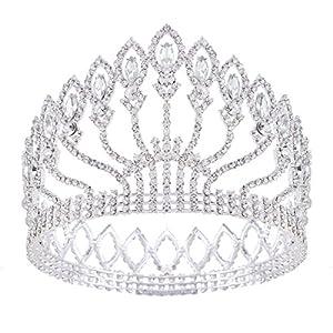 HerZii, Hochzeits-Kristall-Tiara, Krone, Prinzessin, Königin, Festzug, Strasssteine, silbernes Stirnband, Haarzubehör