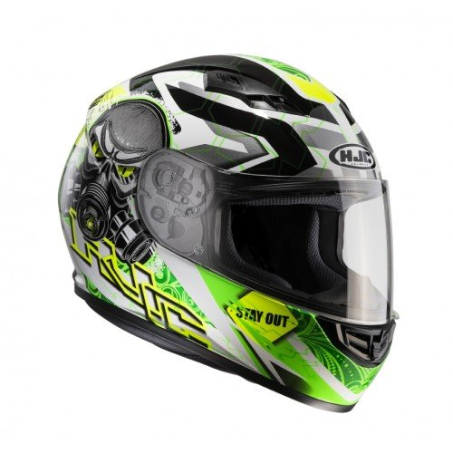HJC 101504M Casco Moto, Nero/Verde Fluo, M