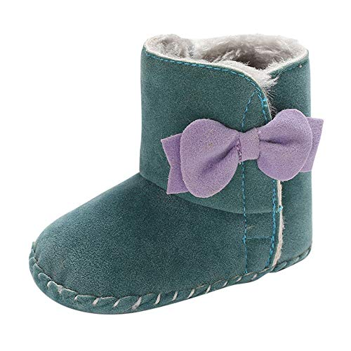 Cinnamou Baby Boots,Newborn Baby Girls Bow Pure Color High Gang Snow Boots First Walkers Toddler Shoes Winter Warm Booties