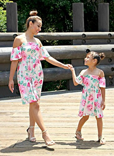 SMILEQ Mom and Me Family Matching Dress Girls Women Floral Print Sundress Off Shoulder Casual Mini Skirt