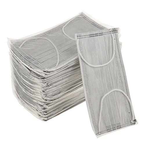 MagiDeal Mundschutz Maske Mundschutzmasken, grau mit Gummibändern 50 Stück Einmal Mundschutz Masken - Ammoniak-flüssigkeit