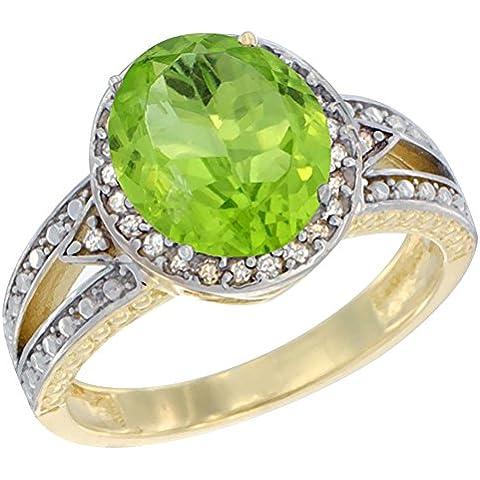 14ct oro amarillo lazulí Natural Oval 9 x 7 mm anillo de Halo de diamante, de tallas J - T
