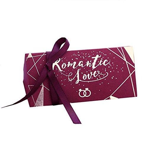 Jun 36pcs gold–Stamping drucken DIY Papier Hochzeit Sweet Candy Box Long Triangle chocholate Geschenk-Boxen mit Schleife Hochzeit Geburtstag Party Favor burgunderfarben (Stück-polka Dots-band 2)